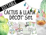 Cactus & Llama Theme *EDITABLE* Classroom Decor Pack