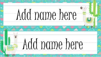 Cactus & Llama theme Editable Nameplates Desk Labels (16 different backgrounds)