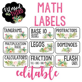 Cactus Math Labels