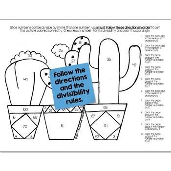 Cactus Math Practice Color by Number Grades 5-8