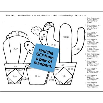 Cactus Math Practice Color by Number Grades 5-8 Bundle