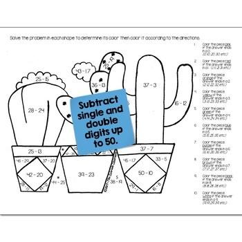 Cactus Math Practice Color by Number Grades K-4 Bundle