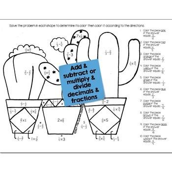 Cactus Math Practice Color by Number Grades K-8 Bundle
