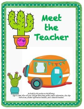 Cactus Theme Meet the Teacher Night Documents