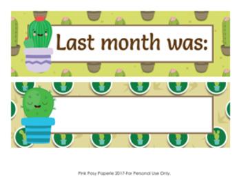 Cactus Monthly Calendar Headers