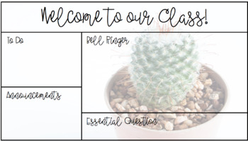 Cactus Morning Message or Bell Ringer Template