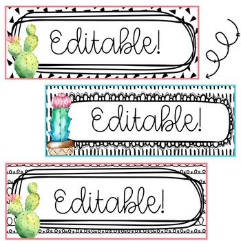 Cactus Name Tags-Editable!