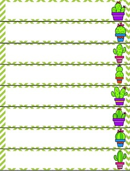 Cactus Name Tags and Labels {Editable}