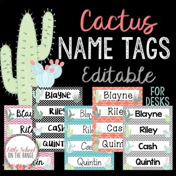 Cactus Name Tags - Editable