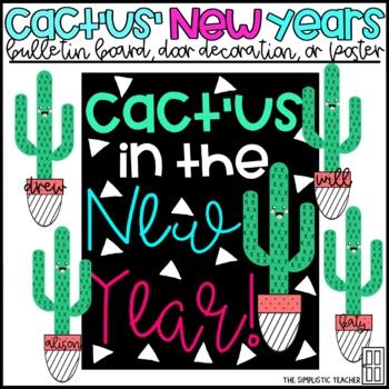 Cactus New Years Bulletin Board, Door Decor, or Poster