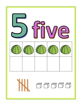 Cactus Number Posters 1-20 with Ten Frames, Tally Marks, and Base Ten Blocks