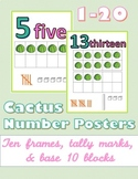 Cactus Number Posters 1-20 with Ten Frames, Tally Marks, a