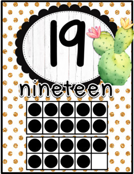 Cactus Classroom Decor Number Posters and Number Line