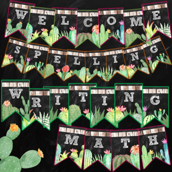 Cactus Pennant Banners Editable