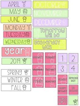 Cactus Pocket Chart Calendar