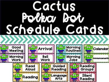 Cactus Polka Dot Schedule Cards
