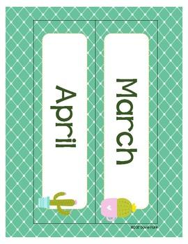 Classroom Decor Cute Cactus Print Calendar Set