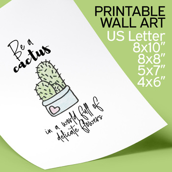 photo relating to Printable Inspirational Quotes referred to as Cactus Printable Poster Wall Artwork, inspirational prices, be a cactus