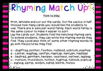 Cactus Rhyming Match Up Game
