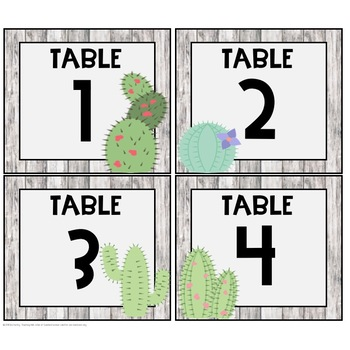 Cactus & Shiplap Table Numbers