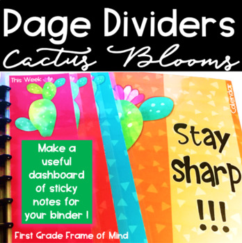 Cactus Growth Mindset Dividers Covers Spines Editable