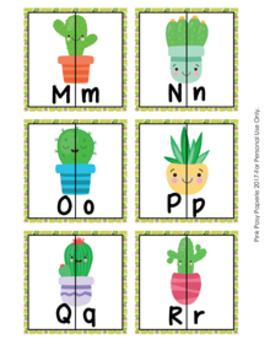 Cactus Succulent Alphabet Letter Match Puzzles