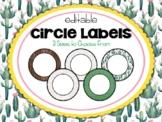 Cactus | Succulent Classroom Decor: Circle Labels