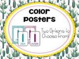 Cactus | Succulent Classroom Decor: Color Posters