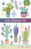 Cactus Succulent Clip Art, Cactus Illustration Set, Tribal Clipart, Garden