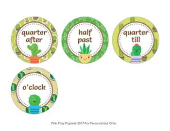 Cactus Succulent Clock Number Labels