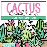 Cactus & Succulent Doodles - Clip Art [IN COLOR!]