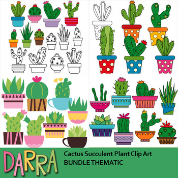 Cactus succulent. Plant clip art bundle
