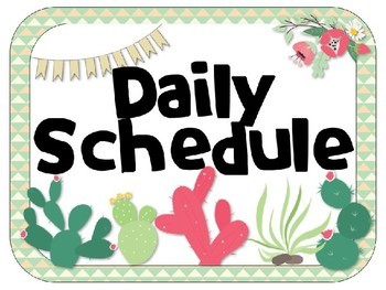 Cactus - Succulent - Southwest Theme Daily Schedule {EDITABLE}