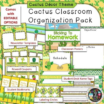 Cactus Succulent Theme Binder Covers and Classroom Organization Pack
