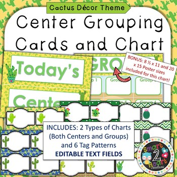 Cactus Succulent Theme Center Grouping Cards and Chart