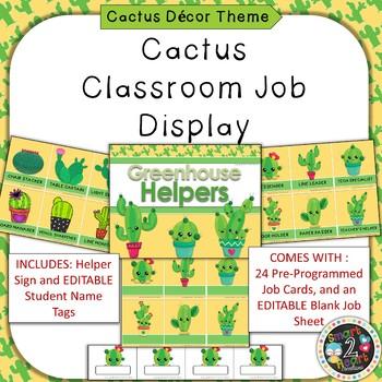 Cactus Succulent Theme Classroom Job Helper Display