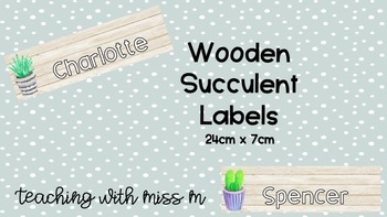 Cactus/Succulent Theme Labels (Wooden) #ausbts18