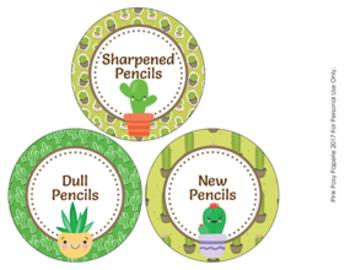 Cactus Succulent Theme Pencil Caddy Labels