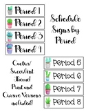 Cactus/Succulent Theme Schedule Cards by Period