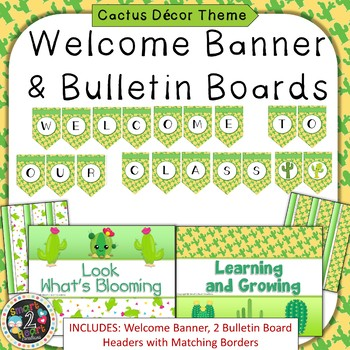 Cactus Succulent Theme Welcome Banner & Bulletin Boards