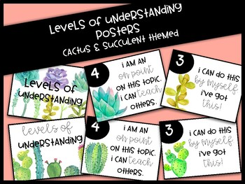 Cactus/Succulent Themed Levels of Understanding Posters