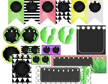 Cactus - Succulents - Editable Labels and Banners