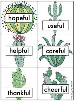 Cactus Suffix Sort Center {FUL, LESS, NESS, ABLE, & LY}