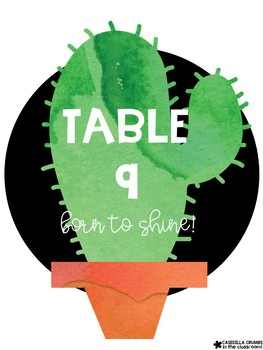 Cactus Table Labels with Fun Phrases - Free