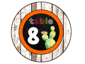 Cactus Table Number Signs