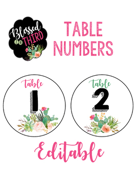 Cactus Table Numbers & Welcome Sign *editable*