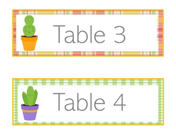 Cactus Table Signs | Cactus Theme Table Signs