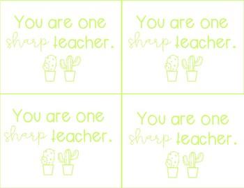Cactus Teacher Appreciation Cards