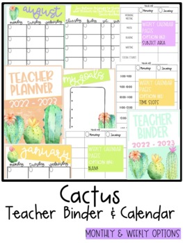 Cactus Teacher Binder