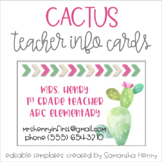 Cactus Teacher Info Cards